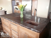 coloured cement island counter