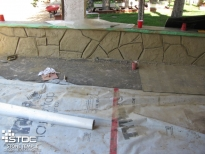 hard-carved vertical concrete short wall
