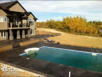 pool with stamped concrete deck