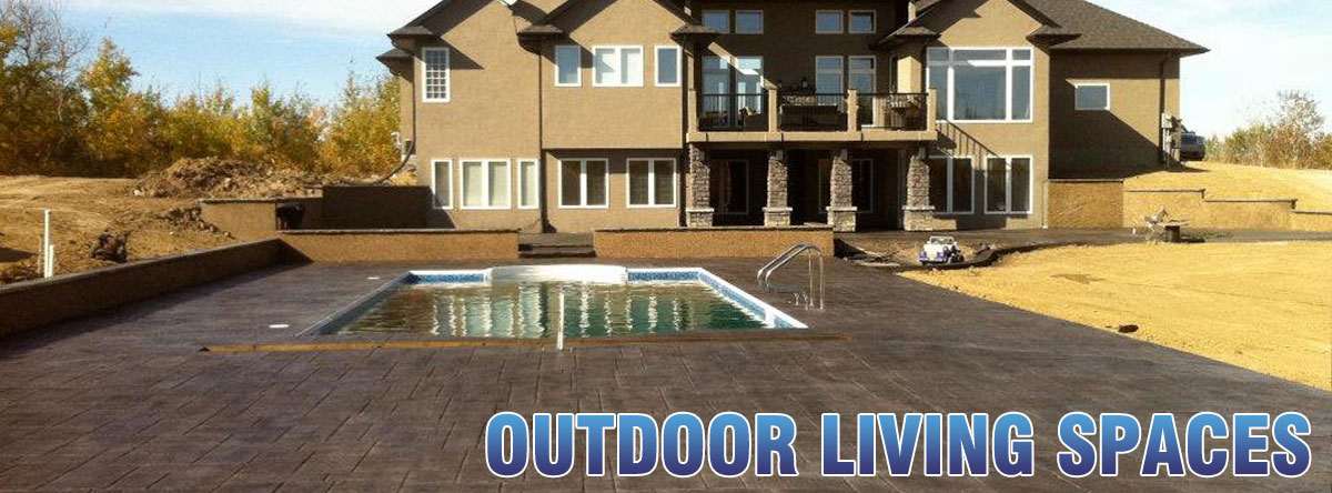 outdoor stained cement patio pool deck